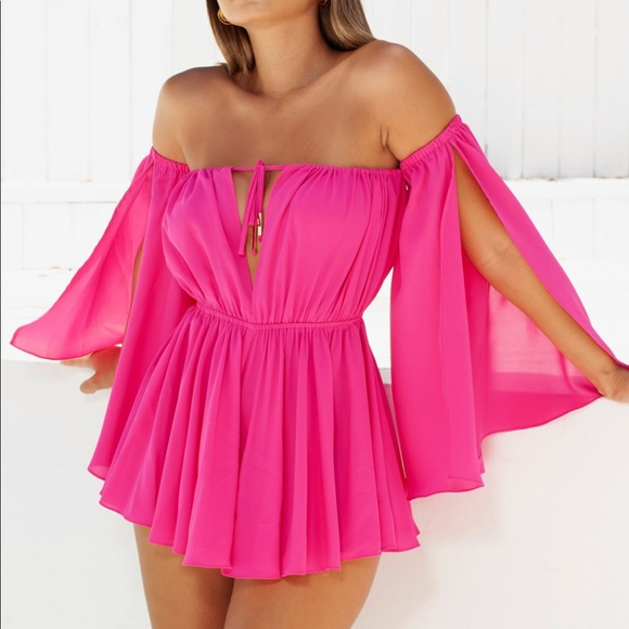 048d28bf4350 PLEAT WAVE RELAXED BARDOT OFF SHOULDER PLAYSUIT Boutique